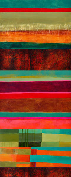Abstract Acrylic Painting - Stripe Assemblage 1 by Jane Davies