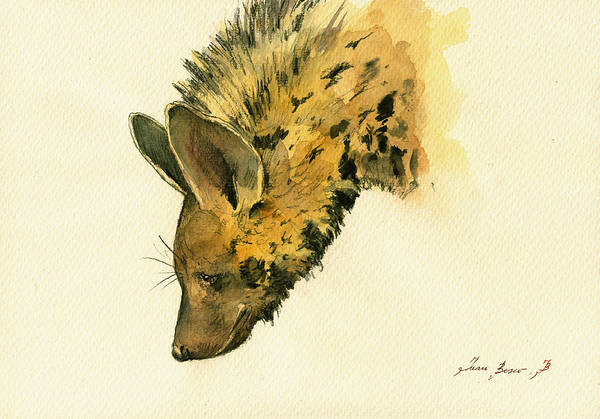 Wall Art - Painting - Striped Hyena Animal Art by Juan  Bosco