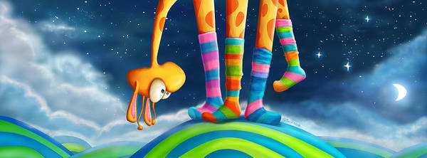 Moon Digital Art - Striped Socks - Revisited by Tooshtoosh