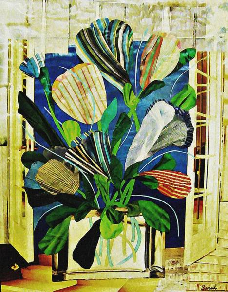 Stripe Mixed Media - Striped Tulips At The Old Apartment by Sarah Loft