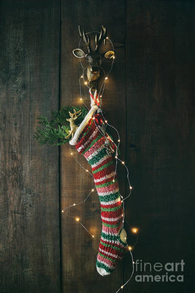 Photograph - Striped Wool Stocking With Sparkling Lights by Sandra Cunningham