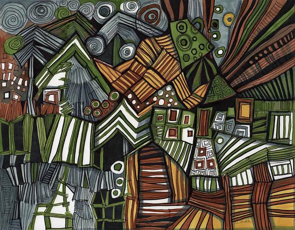 Semi Abstract Drawing - Stripes Circles And Rectangular Shapes by Sandra Church