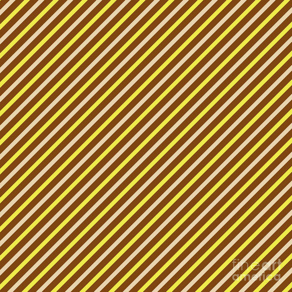 Digital Art - Stripes Diagonal Chocolate Banana Yellow Toffee Cream by Beverly Claire Kaiya
