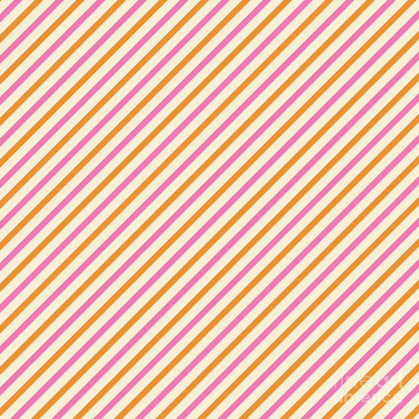 Digital Art - Stripes Diagonal Orange Pink Peach Simple Modern by Beverly Claire Kaiya