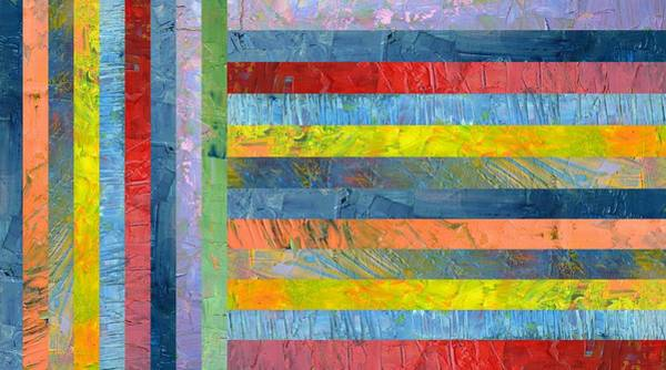 Painting - Stripes With Blue And Red by Michelle Calkins