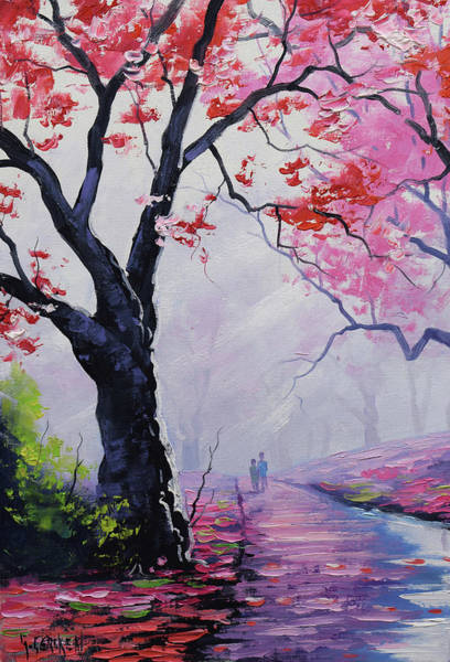 Pink Blossom Painting - Stroll In The Mist by Graham Gercken
