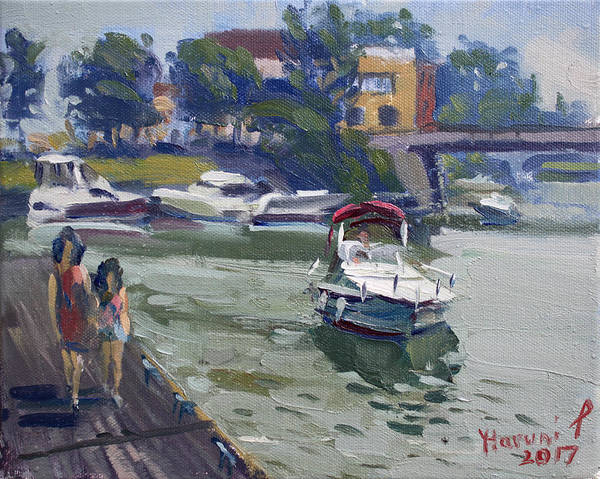 Tonawanda Wall Art - Painting - Strolling Along North Tonawanda Harbor by Ylli Haruni