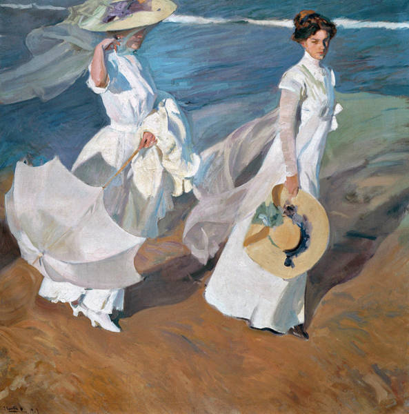 Life After Life Wall Art - Painting - Strolling Along The Seashore by Joaquin Sorolla