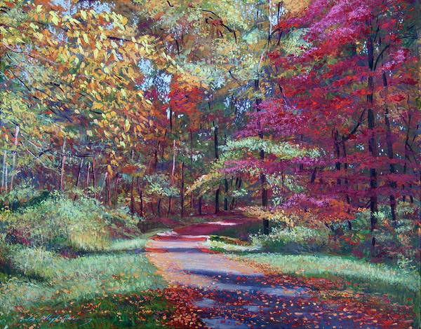 Wall Art - Painting - Strolling Through Autumn Leaves by David Lloyd Glover