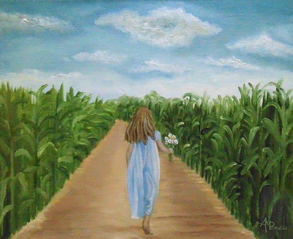 Painting - Strolling Through The Cornfield by Angeles M Pomata
