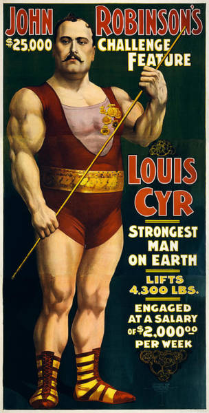 Circus Painting - Strongest Man On Earth - Vintage Strongman by War Is Hell Store