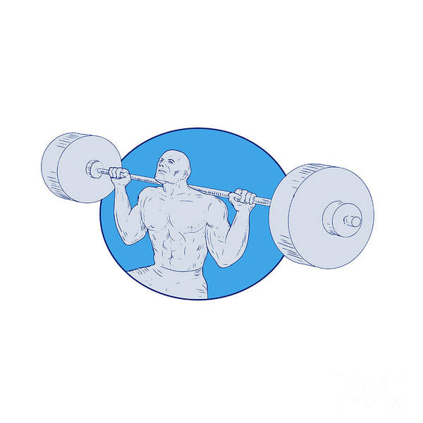 Powerlifting Digital Art - Strongman Powerlifting Barbell Drawing by Aloysius Patrimonio