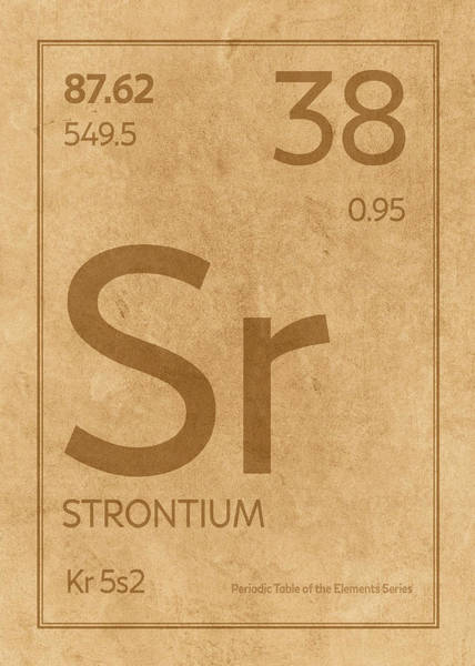 Elements Mixed Media - Strontium Element Symbol Periodic Table Series 038 by Design Turnpike