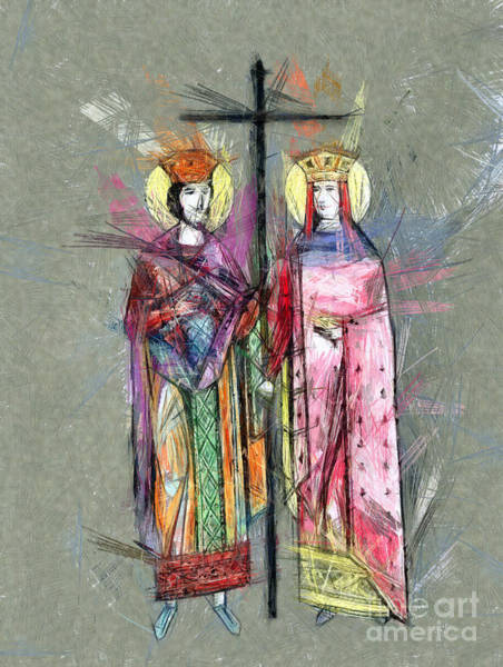 Drawing - Sts. Constantine And Helen by Daliana Pacuraru