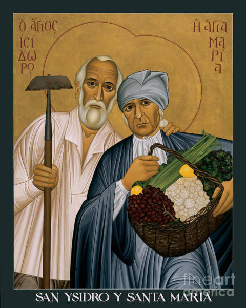 Painting - Sts. Isidore And Maria - Rliam by Br Robert Lentz OFM