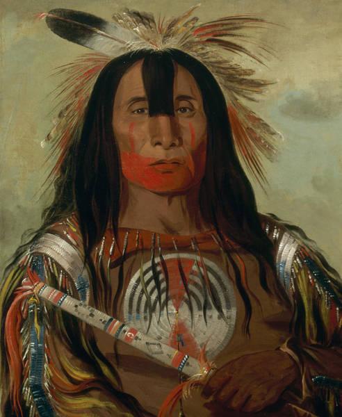 Back Painting - Stu-mick-o-sucks, Buffalo Bull's Back Fat, Head Chief by George Catlin