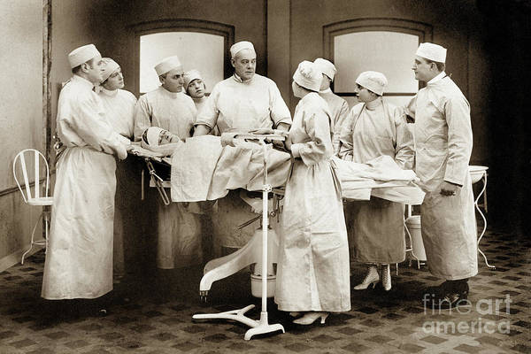 Photograph - Student Nurses Observing Surgical Procedures. Circa 1929 by California Views Archives Mr Pat Hathaway Archives