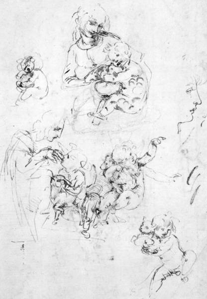 Drawing - Studies For A Madonna With A Cat by Leonardo da Vinci