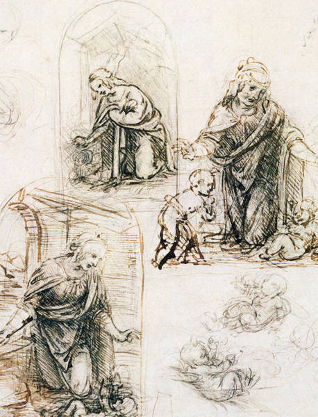 Madonna Drawing - Studies For Nativity by Leonardo Da Vinci