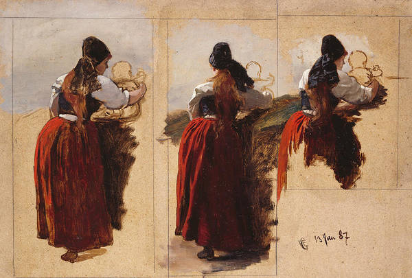 Norwegian Painting - Studies Of A Woman From Rugen by Hans Gude