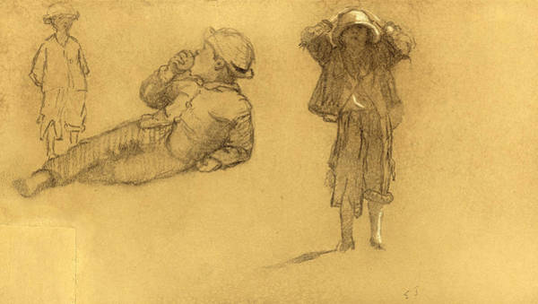 Amuse Drawing - Studies Of Children by Eastman Johnson