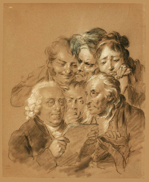 Laugh Drawing - Studies Of Six Faces For Les Grimaces. The Reading Of The Will by Louis Leopold Boilly