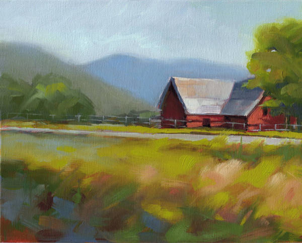 Red Barn Painting - Study 2 by Todd Baxter