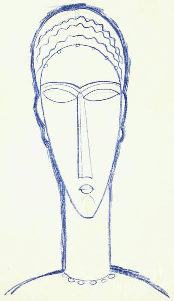 Crayon Drawing - Study For A Head For A Sculpture by Amedeo Modigliani