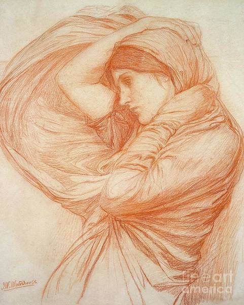 Etching Wall Art - Drawing - Study For Boreas by John William Waterhouse