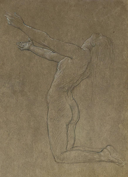 Beautiful Girl Drawing - Study For Clytie by Frederic Leighton