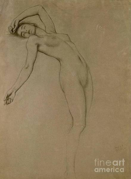 Unclothed Wall Art - Drawing - Study For Clyties Of The Mist by Herbert James Draper