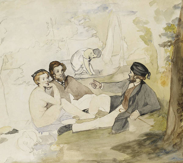 Wall Art - Painting - Study For Dejeuner Sur L Herbe by Edouard Manet