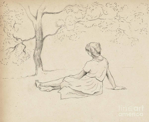 Wall Art - Drawing - Study For Laundresses In Provence by Henri-Edmond Cross