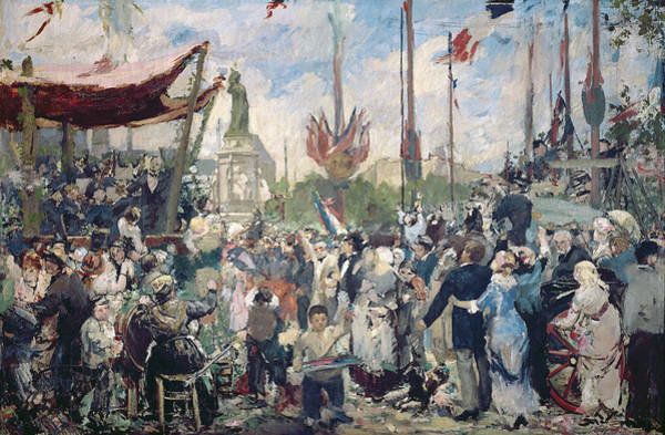 Fete Wall Art - Painting - Study For Le 14 Juillet 1880 by Alfred Roll