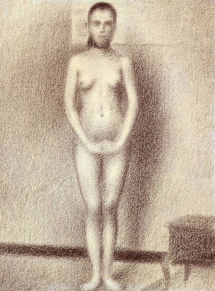 Crayon Drawing - Study For Les Poseuses by Georges Pierre Seurat