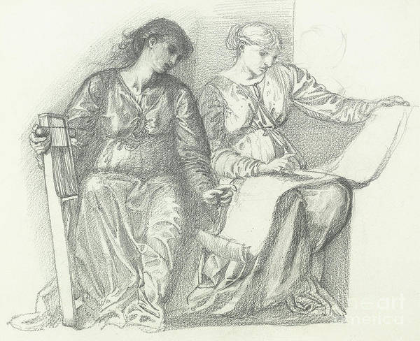 Wall Art - Drawing - Study For Music by Edward Coley Burne-Jones
