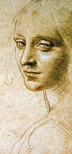 Wall Art - Drawing - Study For The Angel Of The Virgin Of The Rocks by Leonardo da Vinci