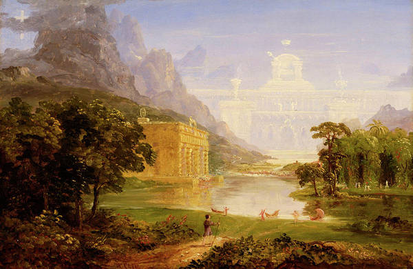 Wall Art - Painting - Study For The Cross And The World, The Pilgrim Of The World On His Journey by Thomas Cole