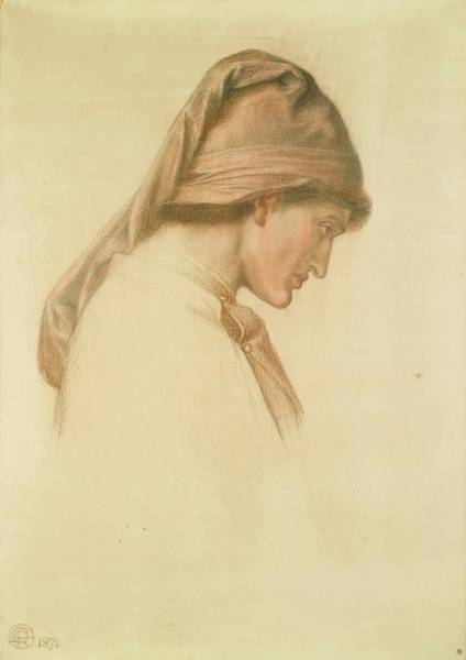 Gabriel Painting - Study For The Head Of Dante In Dante Dream by Dante Gabriel