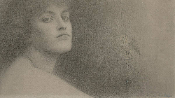 Drawing - Study For The Offering by Fernand Khnopff