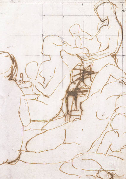 Jeans Drawing - Study For The Turkish Bath by Jean Auguste Dominique Ingres