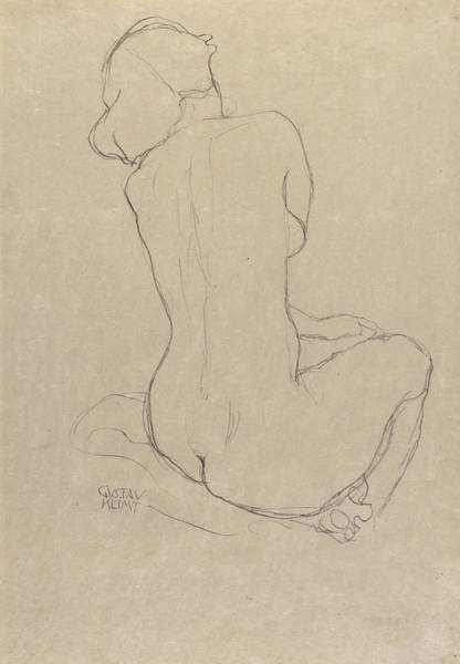 Wall Art - Drawing - Study For The Virgin by Gustav Klimt