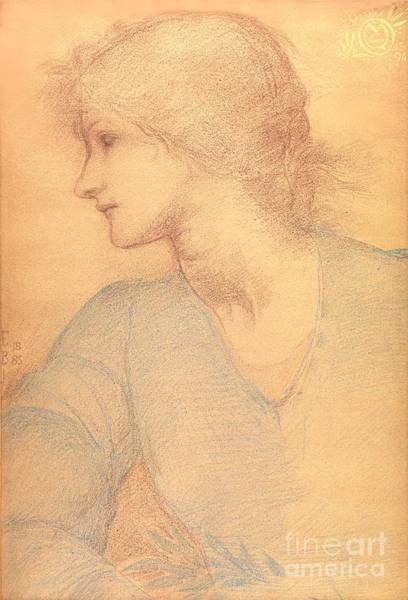 Etching Drawing - Study In Colored Chalk by Sir Edward Burne-Jones