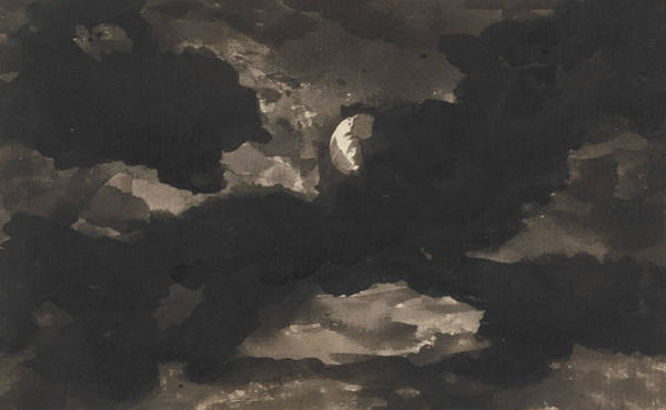 Wall Art - Drawing - Study Of A Clouded Moonlit Sky by George Romney