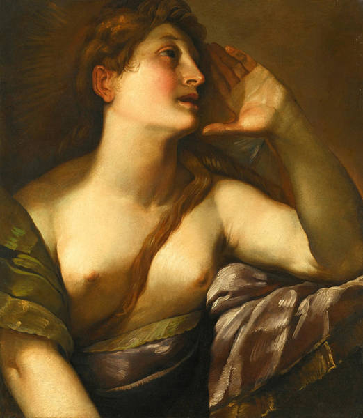 Procaccini Painting - Study Of A Female Figure Facing Right. The Penitent Magdalene by Giulio Cesare Procaccini