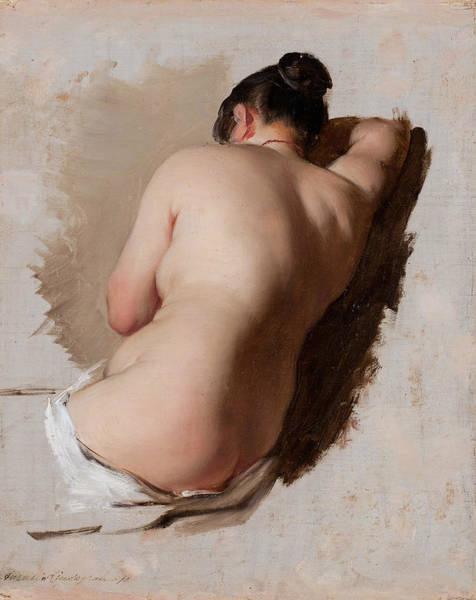 Swedish Painters Wall Art - Painting - Study Of A Female Model by Amalia Lindegren