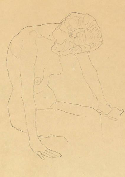 Nipples Drawing - Study Of A Female Nude by Gustav Klimt
