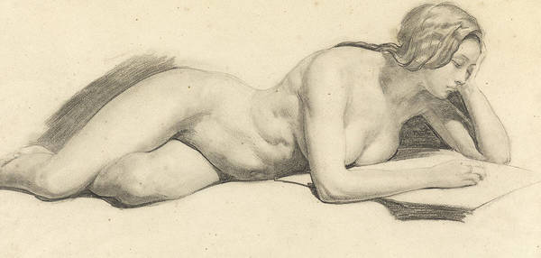 Nude Ladies Drawing - Study Of A Female Nude Reading by Daniel Maclise