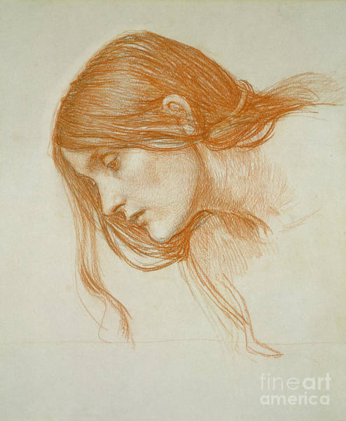 Minimal Wall Art - Drawing - Study Of A Girls Head by John William Waterhouse