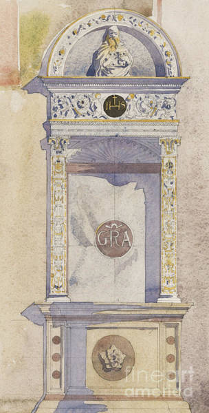 Carving Painting - Study Of A Jesuit Altar, Certosa Di Pavia, 1891 by Charles Rennie Mackintosh